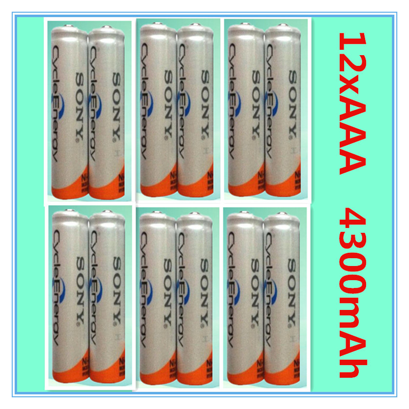 12Pcs/Lot Original Brand New NI-MH AAA HR03 3A Rechargeable Batteries 1.2V 4300mAh For Rechargeable Battery Free Shipping(China (Mainland))