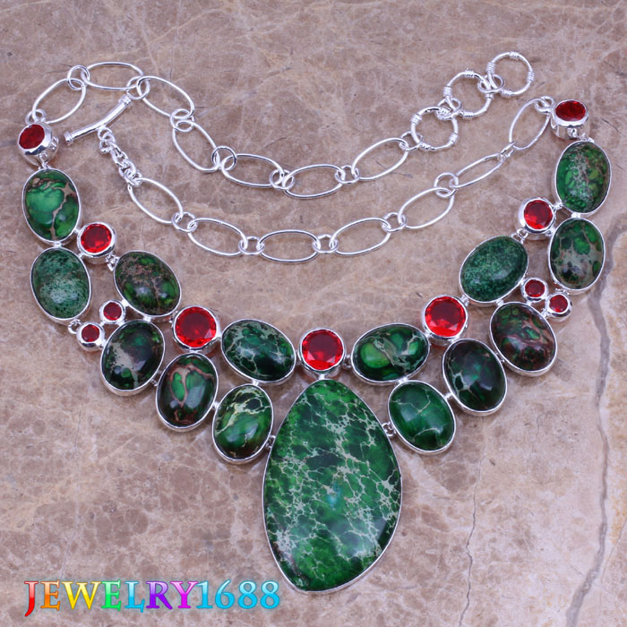 Superb Green Natural Stone Red Garnet 925 Sterling Silver Overlay High Quality Grade Fashion Jewelry Necklace L526