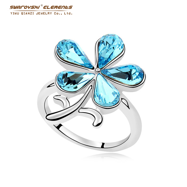 Crystal Flower Rings For Women Engagement Ring Wedding Bands Fine