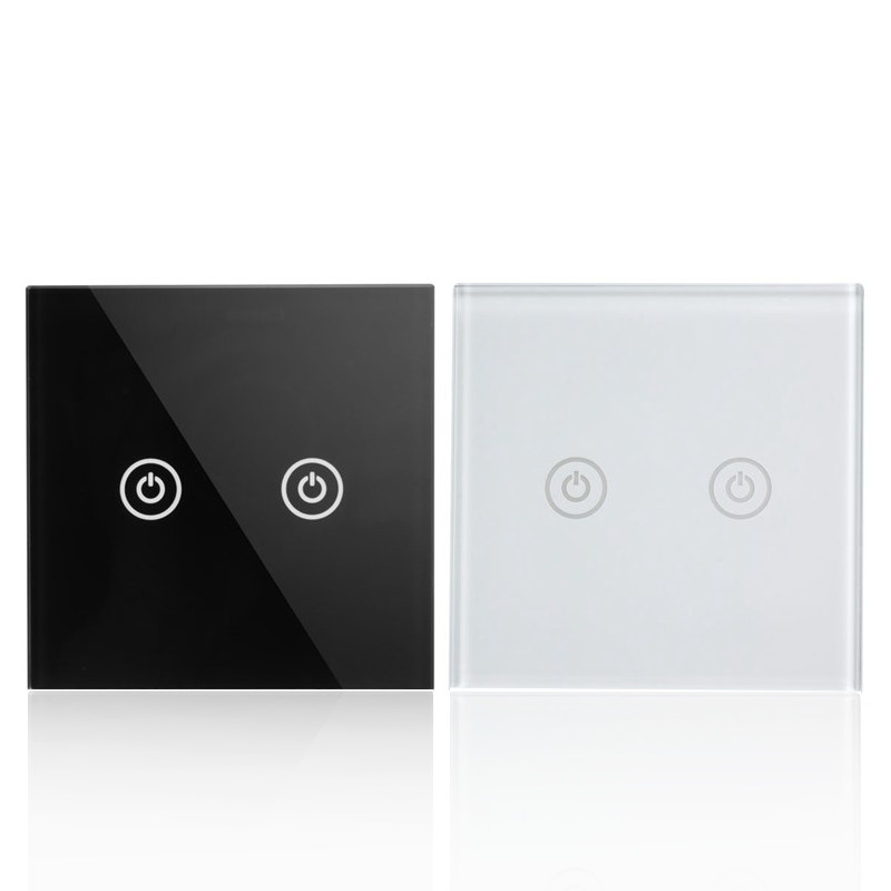 1 Way 2 Gang Tempered Glass Intelligent Hand Control Touch Screen Light Home Wall Switch Panel AC100-250V White/Black(China (Mainland))