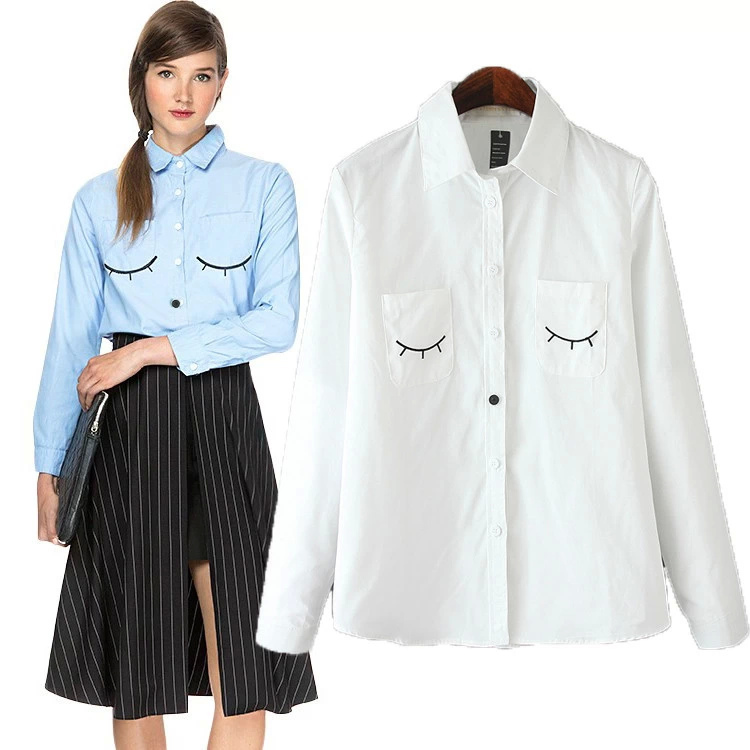 RG09 Fashion 2015 women embroidery white blue office blouses shirt work wear turn down collar vintage long sleeve brand tops(China (Mainland))