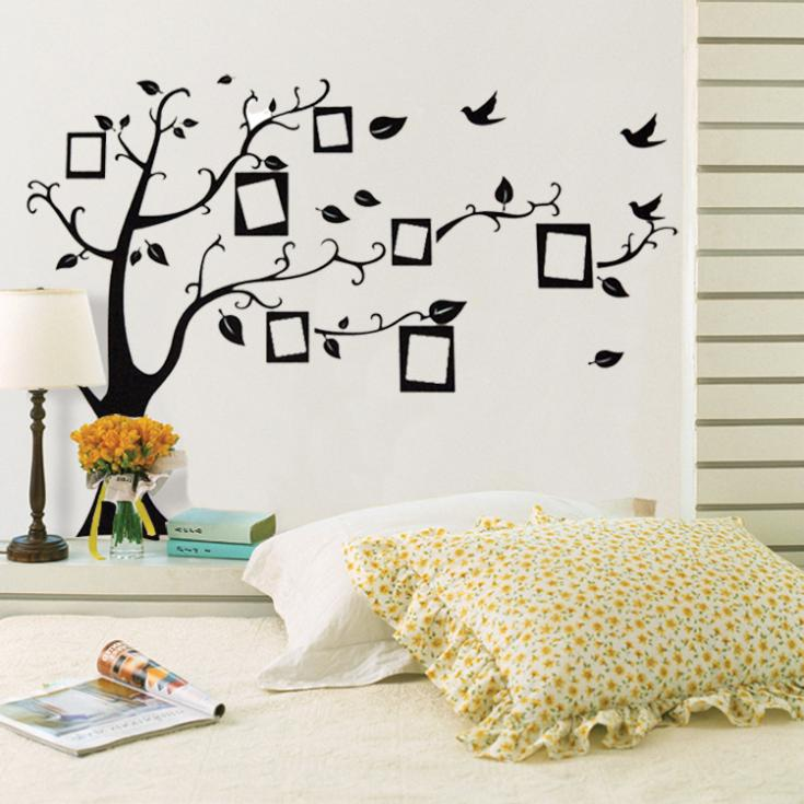 Photo frame black tree wall decals house decoration living room sofa vinyl wall stickers home decor removable wallpaper(China (Mainland))