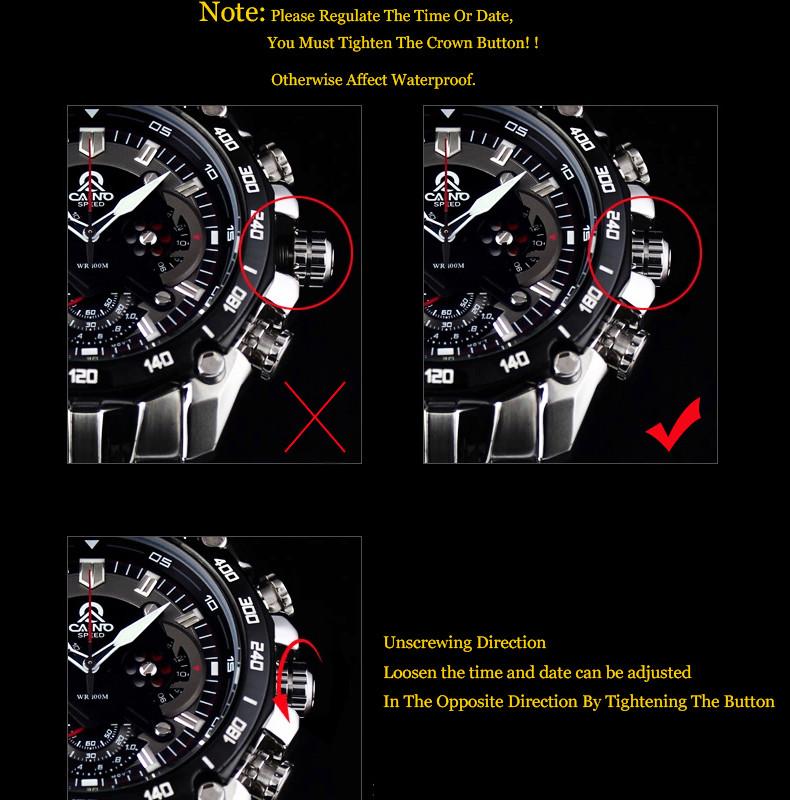 CAINO Люксовый Бренд Моды Часы Мужчин Случайные Очарование Световой Спорт Многофункциональный Кварц Wirst Часы Водонепроницаемые 100 м 330
