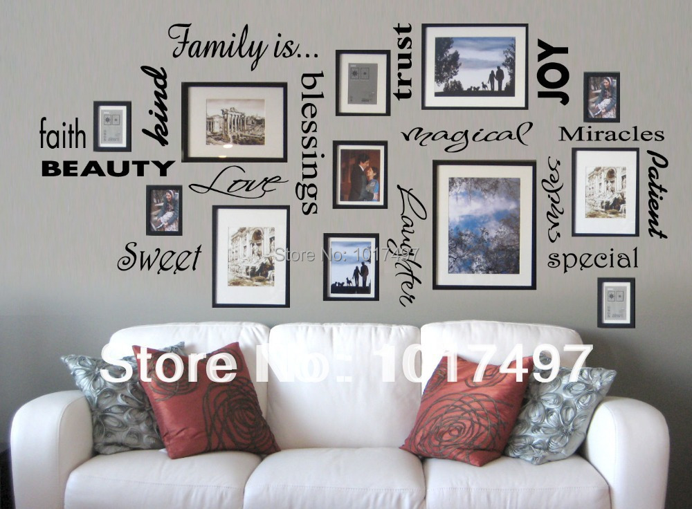Buy free shipping family is vinyl wall for Wall hanging ideas for family room