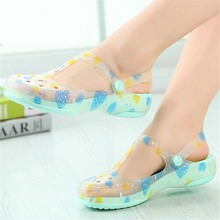 Candy color women sandals summer print hole slipper women's beach home jelly sandals sweet flat shoes flats for ladies(China (Mainland))
