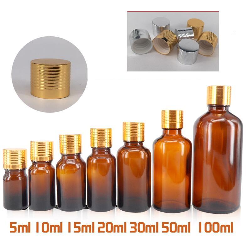 Golden Screw cap water bottle fragrance oil sample cosmetic bottle 30 ml Brown perfume Refillable bottle(China (Mainland))