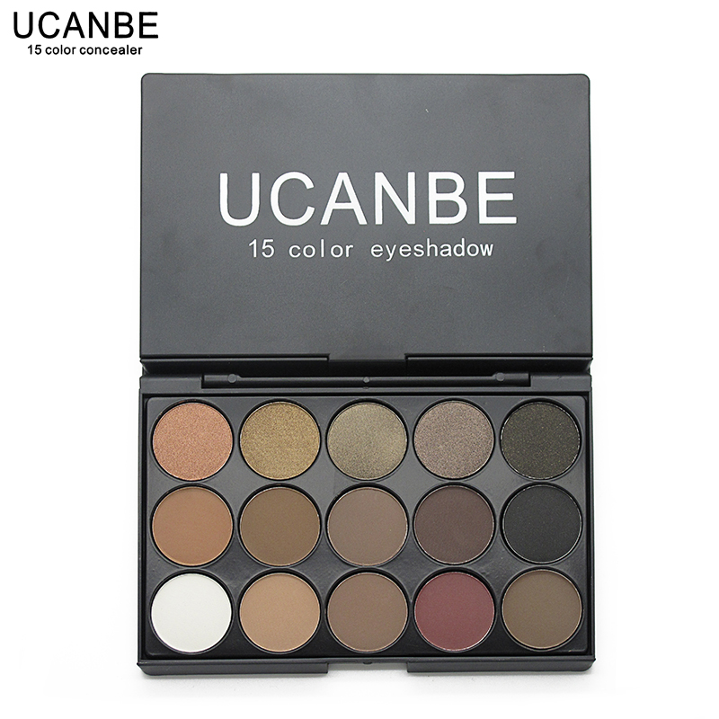 UCANBE Brand New Fashion 15 Earth Color Matte Pigment Glitter Eyeshadow Palette Cosmetic Makeup Set Nude Eye Shadow palettes(China (Mainland))