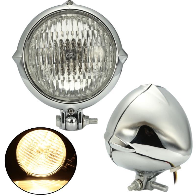 Купить Хром Черный Мотоцикл 4 дюймов Фар Фара Желтый Свет Лампы Для Harley Bobber Chopper