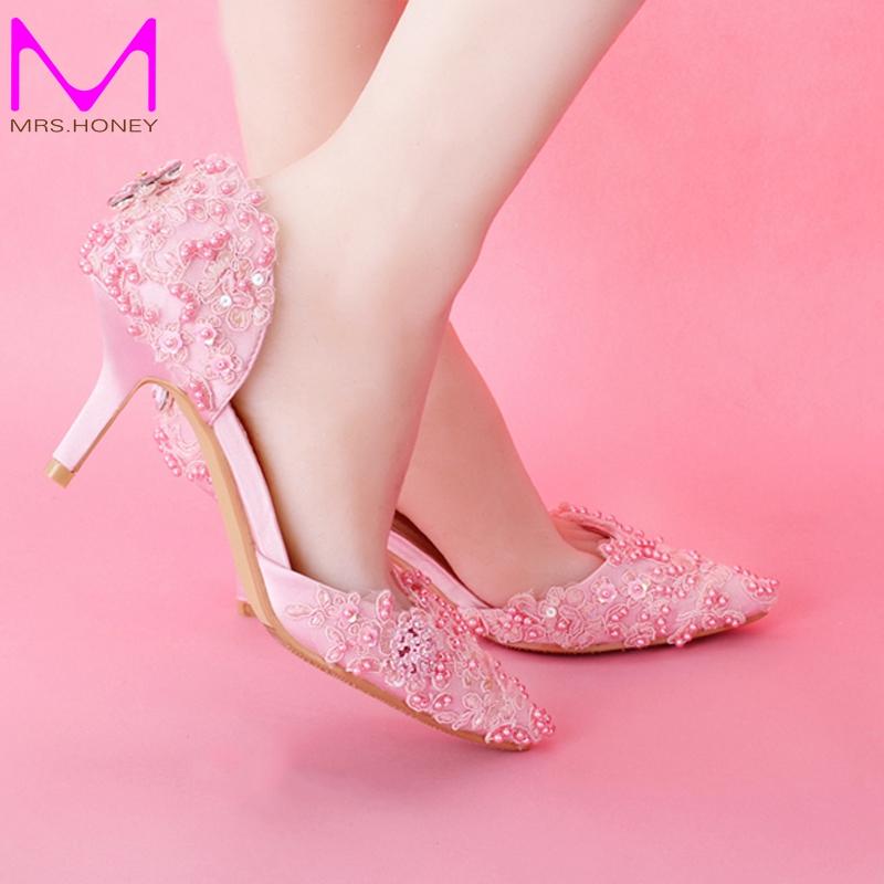 2016 Fashion Pink Lace Proms Wedding Shoes Women Bridal Shoes Elegant Sweet Evening Shoes Women Pumps Valentine Prom Party Shoes(China (Mainland))