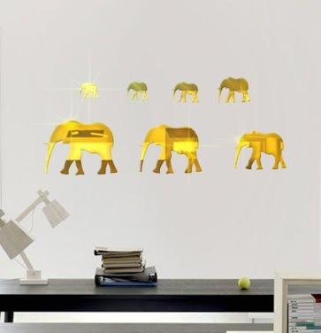 7pcs/lot Elephant Modern Acrylic Plastic Mirror Wall ROOM Decal Decor Vinyl Art Sticker wall stickers home decor MS012(China (Mainland))