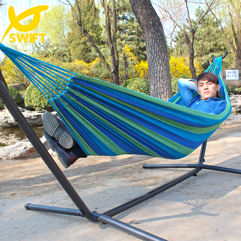 Free Shipping SWIFT Outdoor Brand Hot Sale1 Person 280Lx100Wcm 120kgs 100% Colorful Cotton Single Canvas Hammock With Cloth Bag(China (Mainland))