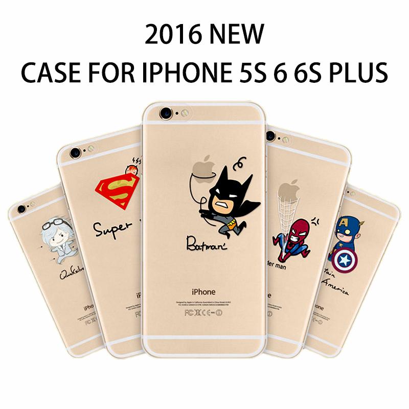Batman Captain America Phone bag case soft TPU for Apple iPhone 5s 6 6S Plus Transparent printing Waterproof mobile shell(China (Mainland))