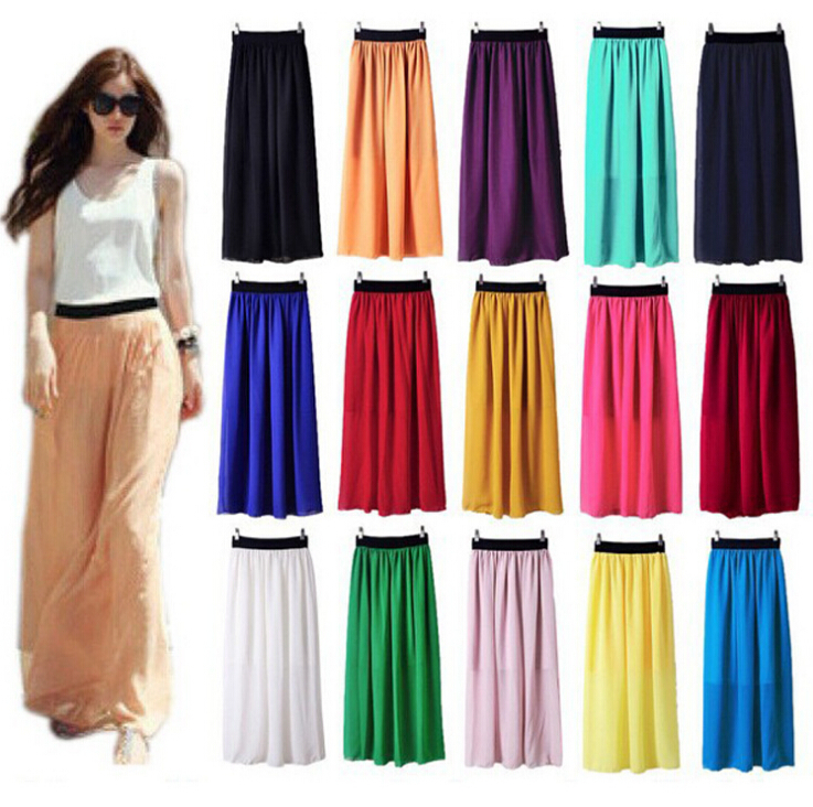 NEW 2015 WOMEN SUMMER SKIRT CASUAL CHIFFON SKIRTS CANDY COLOR SUMMER STYLE LONG SKIRT 14 COLORS(China (Mainland))