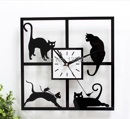 Wholesale/ Retail Cheapest Price Cute Black Cat Wall Clock Modern Design 3D Decorative Art Watch Wall Quartz Mute(China (Mainland))