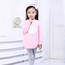 LOVE Suit Headband+ Shirts+ Pants Children's Clothing Girls Long Sleeve Sets Ordinary Kids Clothes Red Pink Heart Cotton 2T-7Y(China (Mainland))
