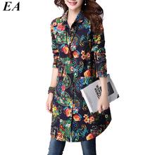 2017 Autumn Vintage Loose Floral Print Long Women Blouses Shirts Long Sleeve Shirt Women Blusas Femininas Womens Tops Fashion