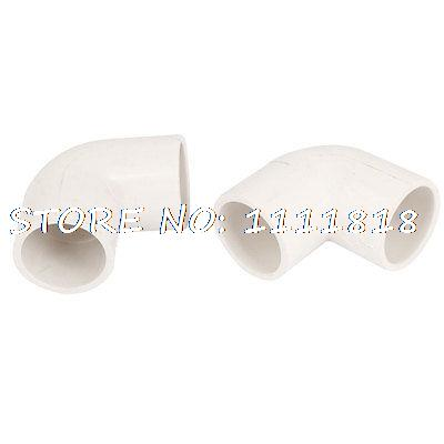 25mm Dia 90 Angle Degree Elbow White PVC Pipe Fittings Adapter Connector 2pcs(China (Mainland))