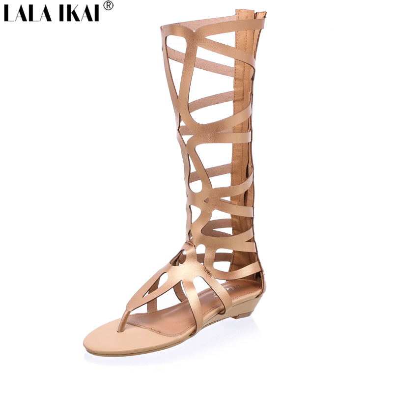 Fashion Gladiator Sandals Women 2016 Brand Design Cut outs Flat Knee High Gladiator Sandals Boots Summer Shoes Woman XWF0165-5(China (Mainland))