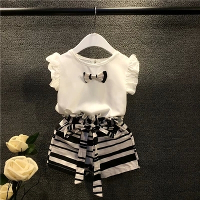 2T-8 summer suits for girls shirt and shorts for girls 2pc strip sets for girls fashion bow girls kids clothes sets(China (Mainland))