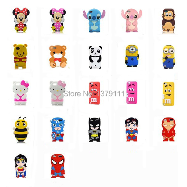 3D Festival gift comics hero cartoon monsters animal monkey/bee/cat/bear soft silicone case 22 model For Ipod For touch 5(China (Mainland))
