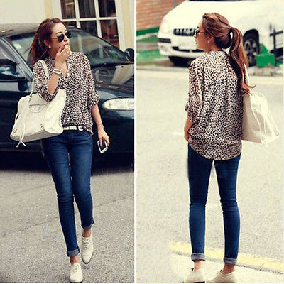 S M L New Women 3/4 Sleeve Casual Leopard Print Shirt Tops Button Down Blouse(China (Mainland))