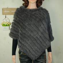 Autumn Winter Ladies' Genuine 100% Real Knitted Rabbit Fur Poncho Triangle shawl Women Natural Fur Pashmina Wrap Female Pullover(China (Mainland))