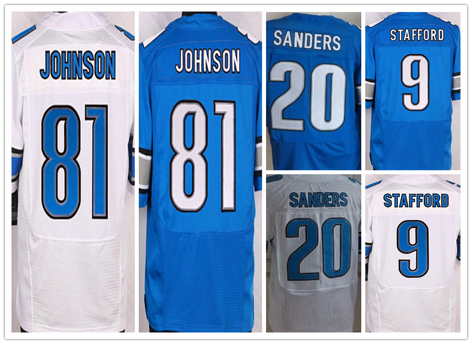Cheap American 9 Matthew Stafford football jersey,Elite 20 Barry Sanders Lions 81 Calvin Johnson sport jersey,Good quality(China (Mainland))