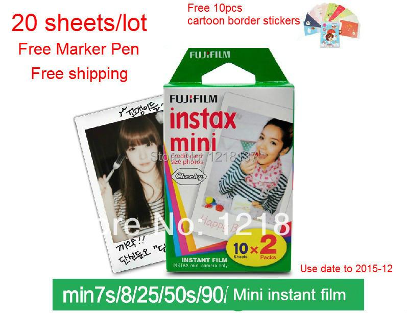 Fujifilm polaroid photo paper mini7s 8 25 50s photo paper once imaging film instant mini films white edge(China (Mainland))