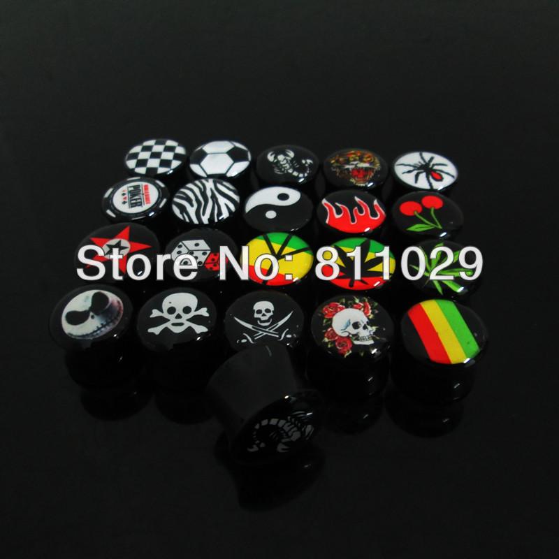 wholesale 240pcs mixed 6 gauges mixed 20 fashion logos printed saddle acrylic ear plug free shipping<br><br>Aliexpress
