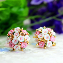 hot selling brand jewery luxury crystal double imitation stud earrings for women resin flowers earrings for summer style(China (Mainland))