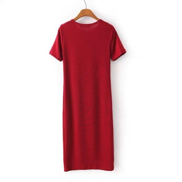 qz1697 новая мода женская элегантные старинные краткий красный длинные вязанные Платья стильные o шеи короткие случайные тонкий бренда платье