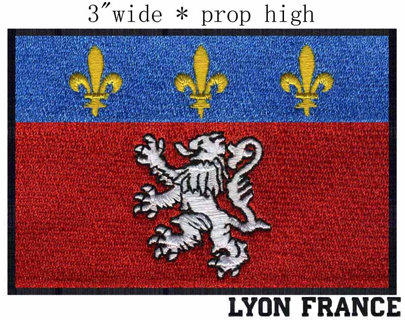 """Lyon, France Flag 3"""" wide embroidery patch free shipping for walking/flowers/red fabric(China (Mainland))"""