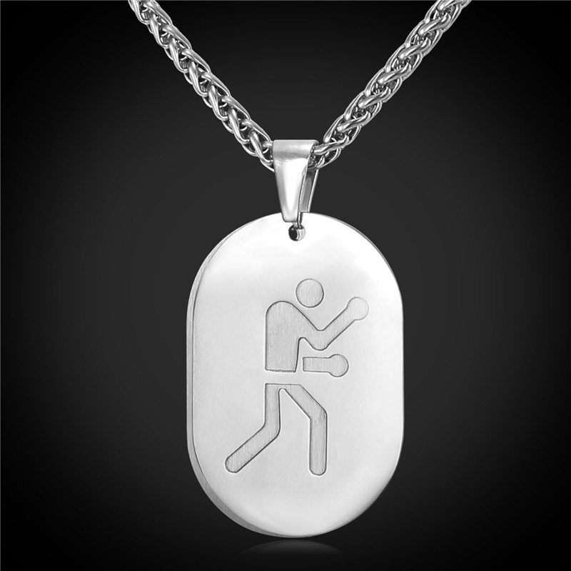 Stainless Steel Boxing Act Dog Tag For Men Necklaces & Pendants 18K Gold Plated Pendant Two Layer Sports Men Jewelry P2134(China (Mainland))