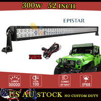 52 Inch 300W EPISTAR LED Work Light Bar Offroad Combo Beam for Jeep Wrangler JK Ford GMC Camper Trailer 4WD 4X4 ATV Caravan 12V