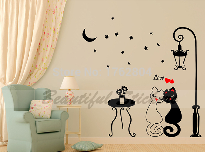 Aliexpresscom  Buy Hot Sale Cartoon Lovers Cat Art Wall Stickers - Wall stickers for dining room