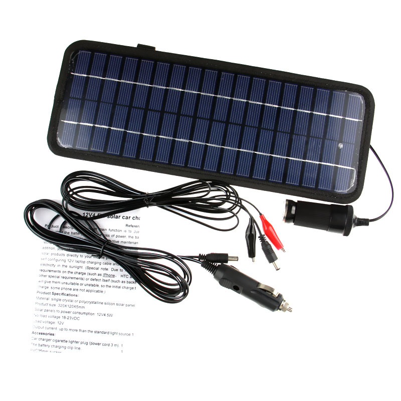 12V 4.5W Multifunctional Solar Car Charger Car Lighter Slot adapter Solar Panel Charger Car / Motorbike Cell Phone USB Charger()