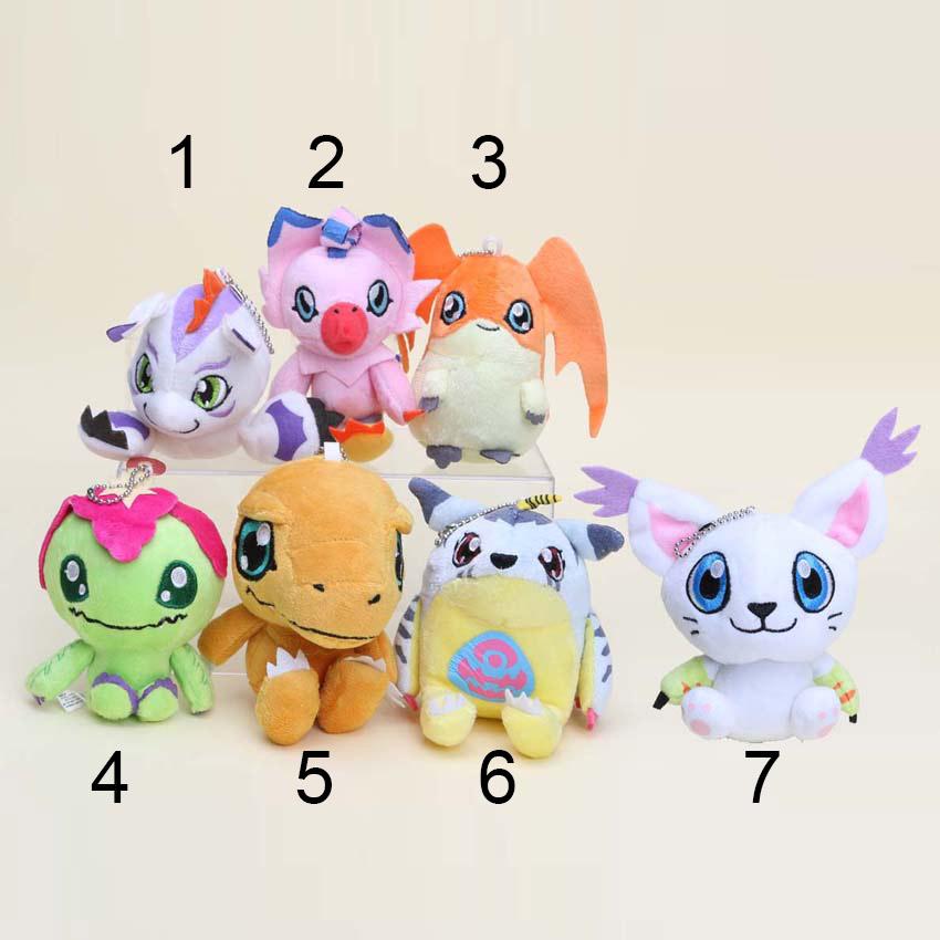 7pcs/lot 10cm Digimon Adventure plush toys Agumon Gabumon Gomamon Biyomon Palmon Patamon Tailmon Digimon Keychain Stuffed Dolls(China (Mainland))