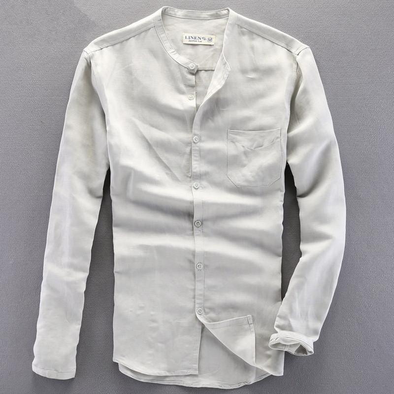 Loose small collar Formal Shirts Men Long Sleeve Slim Fit Casual Shirt Mens Solid Color linen Dress Shirts men's(China (Mainland))