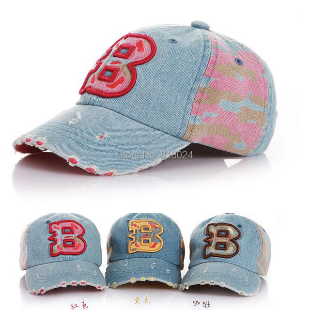 Дети в бейсбол кепка шляпа надписи B джинсовый ковбой шляпа кепка дети мальчики девочки casquette солнцезащитные головные уборы шапки