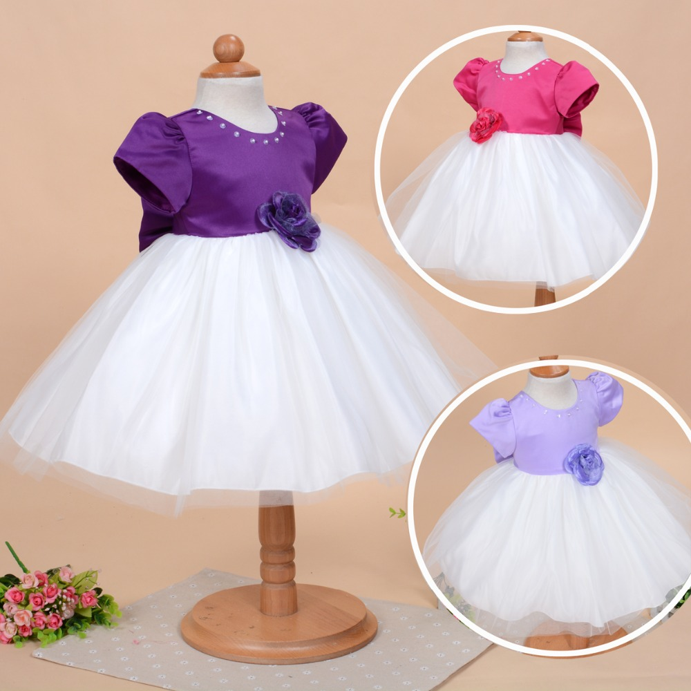 D09 New 2015 Baby Flower Girls Satin Christening Dress Wedding Party Pageant Formal hat special occasion 9M 12M 18M 24M - APS DRESS store