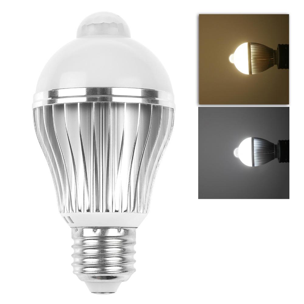 Ir Motion Sensor E27 5w 7w 5730smd Led Bulb Spotlight Lamp Cool Warm White Ac 85 265v For