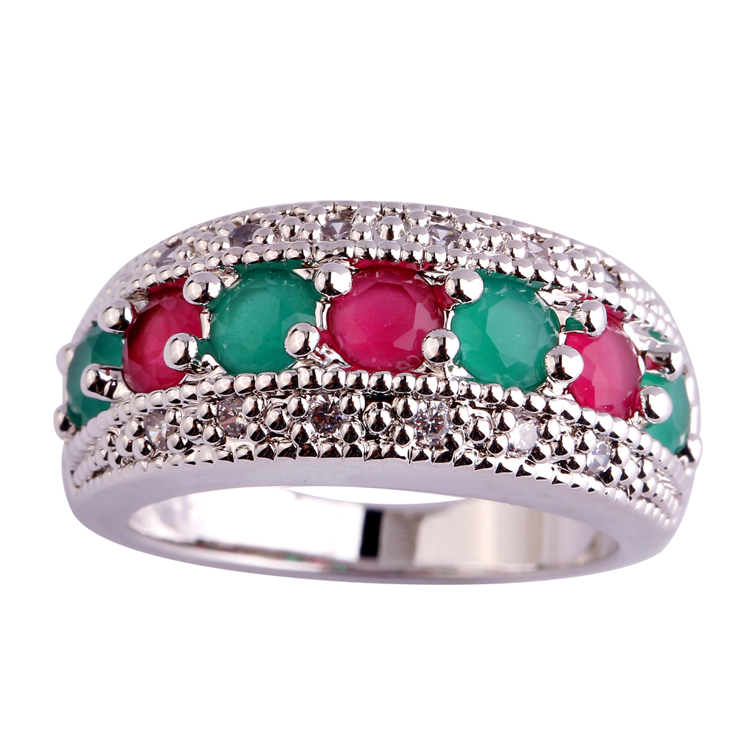 Pink Silver Round Cut Diamond Fashion Ring Size 7 Fashion Women Round Cut Green