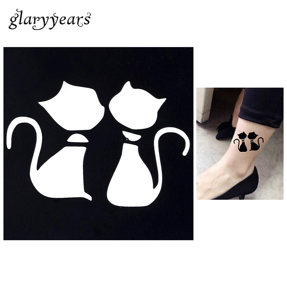 1pc Cartoon Cat Waterproof Tattoo Stencil Woman Body Art Airbrush Painting Small Henna Indian Tatoo Sticker Stencil 2016 Hot G18
