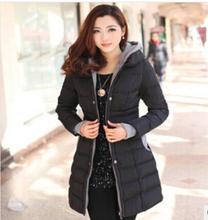 free Shipping Ladies cotton padded coat slim down solid girls long warm coat jacket tide