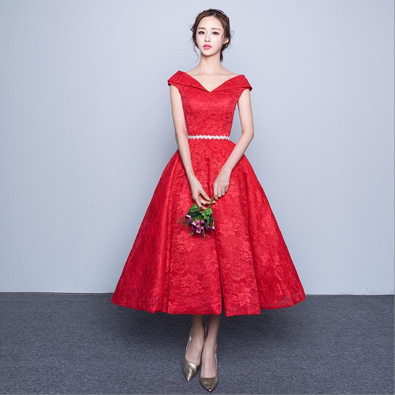 Red dress tea length promotion shop for promotional red for Red tea length wedding dress