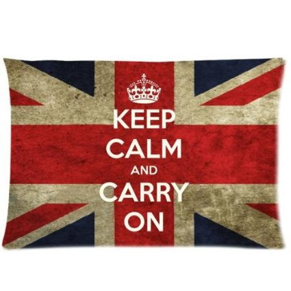 Keep Calm and Carry On - British Union Jack Flag Zippered Pillowcase Pillow Cover 20x30 inches Birthday Gift For Kids Lover(China (Mainland))