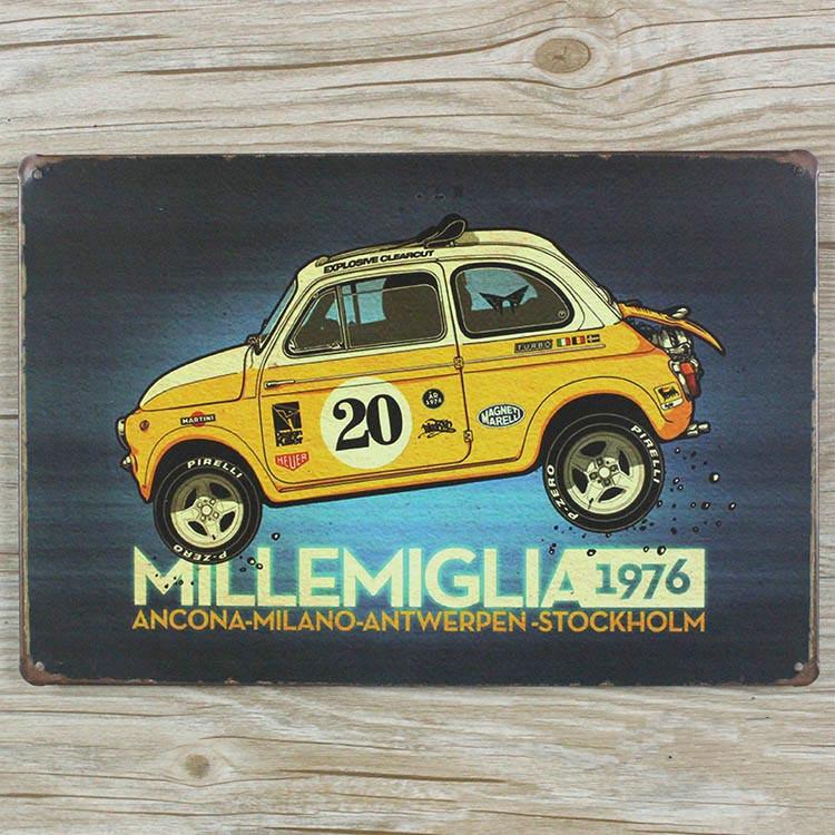 "RZXD-398 vintage metal painting ""Super mini car 1976"" plate fashion retro coffee bar decorative painting wall poster 20x30 CM(China (Mainland))"