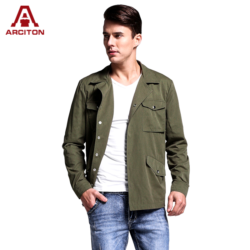 A ARCITON Fashion 4 Pockets Spring Jacket Men High Quality Cotton Coats Men Single Button COOL Mens Bomber Jacket(N-827)(China (Mainland))