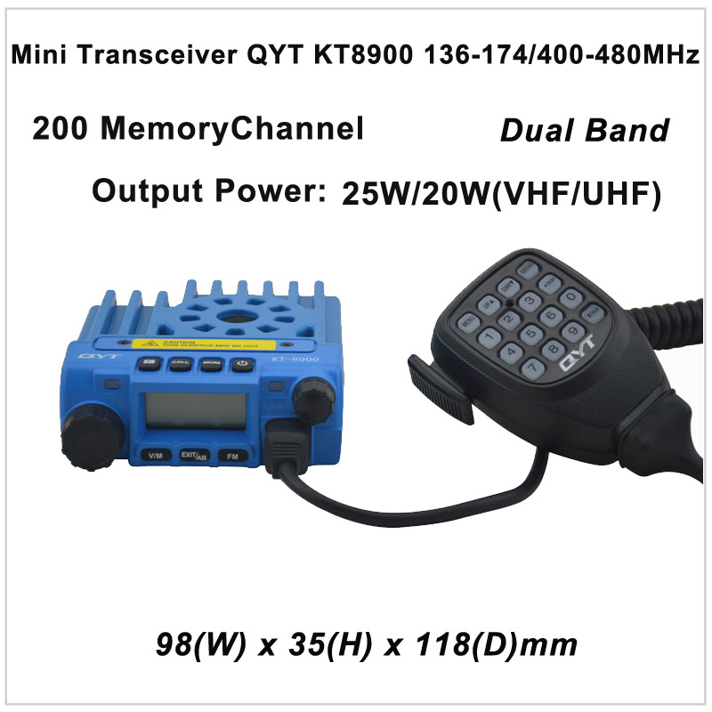 Mini Transceiver QYT KT8900 136-174/400-480MHz two way radio Dual band mobile transceiver Color Blue