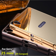 Buy Z5mini Case Sony Xperia Z5 Compact E5803 Cases Bumper Golden plating Metal Frame + Mirror Acrylic Back Cover black Z5Compact for $4.74 in AliExpress store